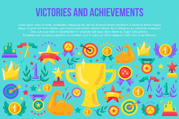 Victories and achievements flat banner template