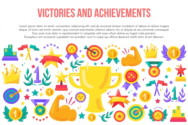 Victories and achievements flat template