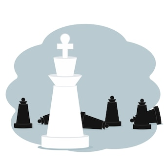 Victory and achievement concept. vector illustration of chess pieces king and pawns