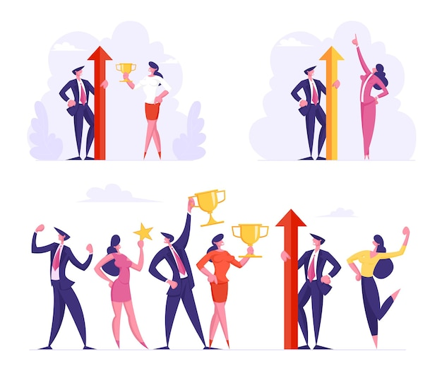 승리와 비즈니스 성공 세트 공식적인 마모에 남성과 여성 사무실 캐릭터의 팀