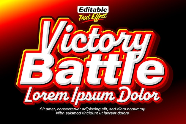 Victory battle flaming red text effect
