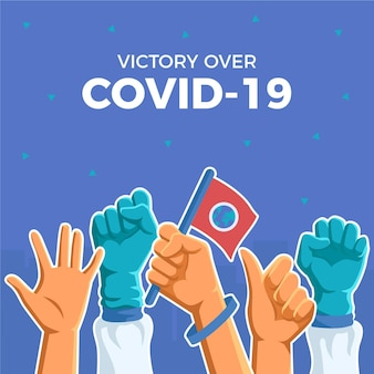 Victory over cononavirus and earth flag