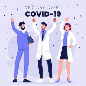 Victory over coronavirus cocnept