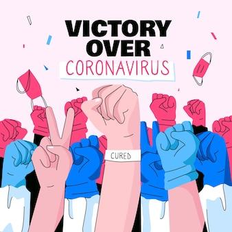 Victory over coronavirus concept