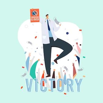 Victory over coronavirus with confetti