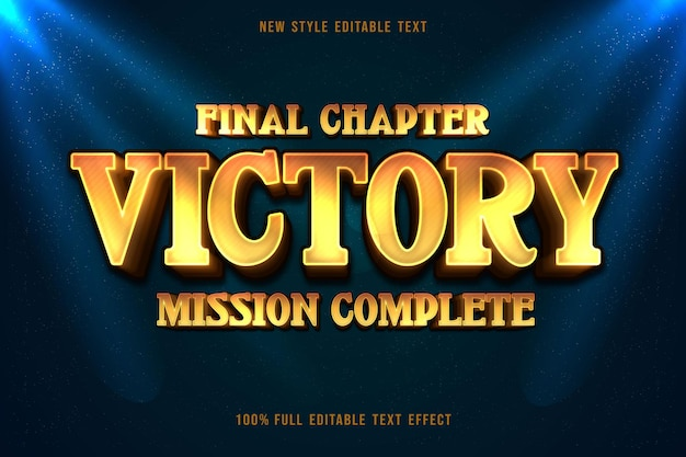Victory editable text effect gradation yellow style with sparkle