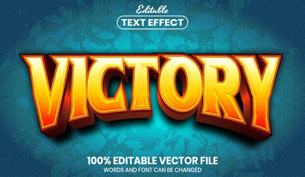 Victory text, font style editable text effect