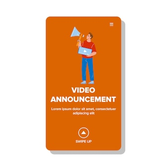 Video announcement presenting manager boy vector. blogger or marketer advertising with loudspeaker video announcement in social media. character professional occupation web flat cartoon illustration