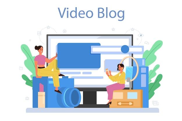 Video beauty blogger online service or platform. internet celebrity in social network. video blog.