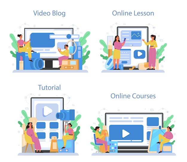 Video beauty blogger online service or platform set. internet celebrity in social network. video blog, online course, online lesson, tutorial.