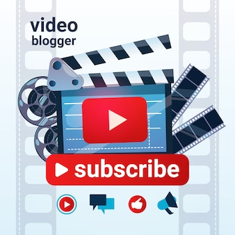 Video blog camera online stream blogging subscribe concept