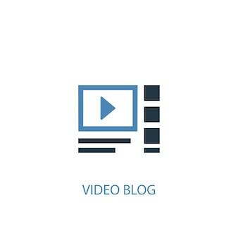 Концепция видео блог 2 цветной значок. простой синий элемент иллюстрации. видео-блог концепция символ дизайна. может использоваться для веб- и мобильных ui / ux