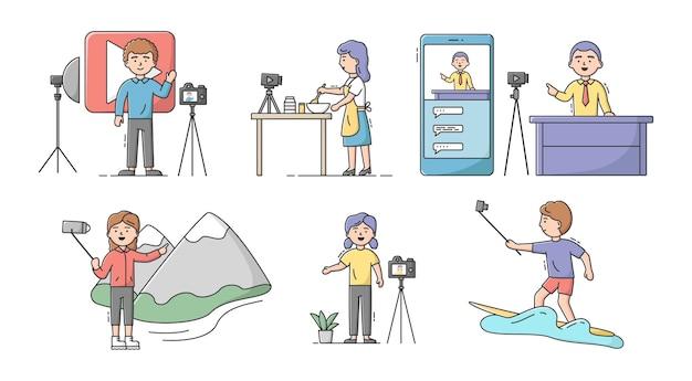 Концепция видео-блога. набор молодых привлекательных мужчин и женщин делают видеоблоги на разные темы. прямая трансляция, сотрудничество блоггеров в социальных сетях. мультфильм линейный контур плоский векторные иллюстрации.