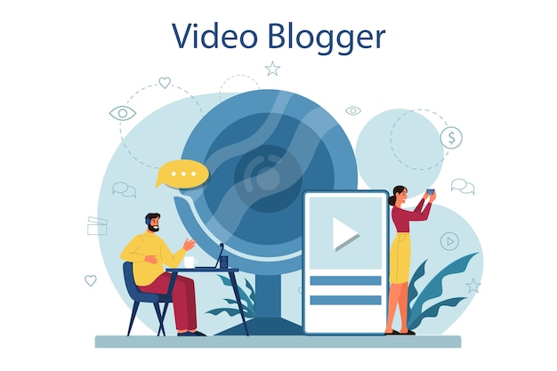 Video blogger concept illustration