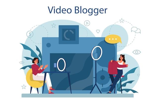 Иллюстрация концепции видео блоггера