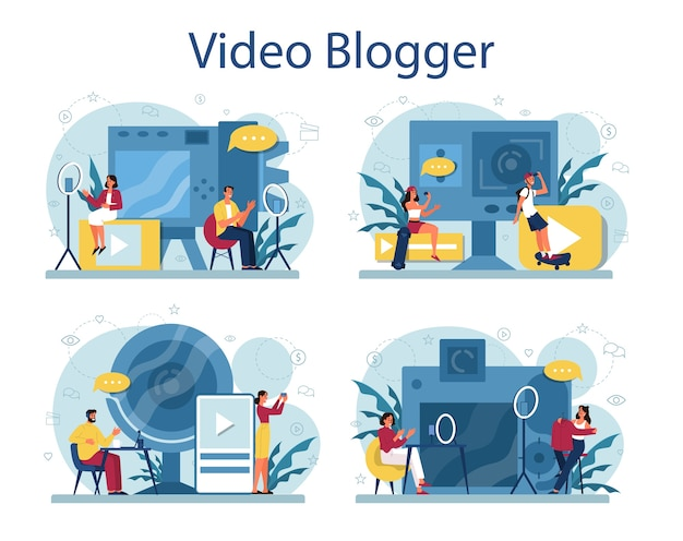 Video blogger concept . share content in the internet. idea of social media and network. online communication.