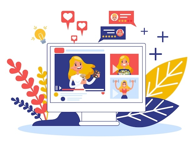 Концепция видео блоггера. обмен контентом в интернете.