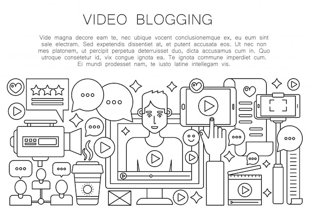 Video blogger thin line concept