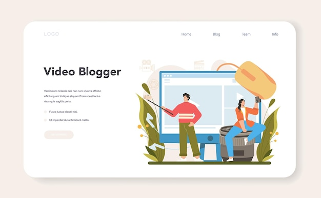 Video blogger web banner or landing page sharing video content