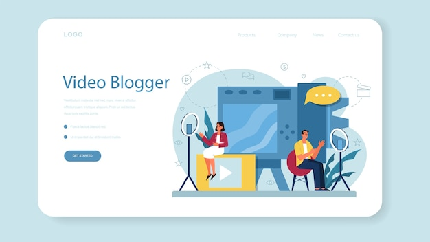 Video blogger web banner or landing page