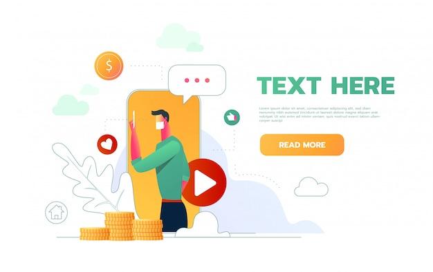 Видео-блоггер дизайн веб-страницы с мастер-классом, как заработать деньги презентации любимых блогов болтать плоские иконки иллюстрации.
