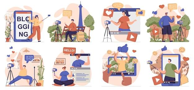 격리된 장면의 비디오 블로깅 컬렉션 사람들은 온라인 채널에 대해 다른 비디오 클립을 기록합니다.