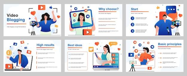 プレゼンテーションスライドテンプレートのビデオブログの概念さまざまなトピックに関するビデオを作成する人々
