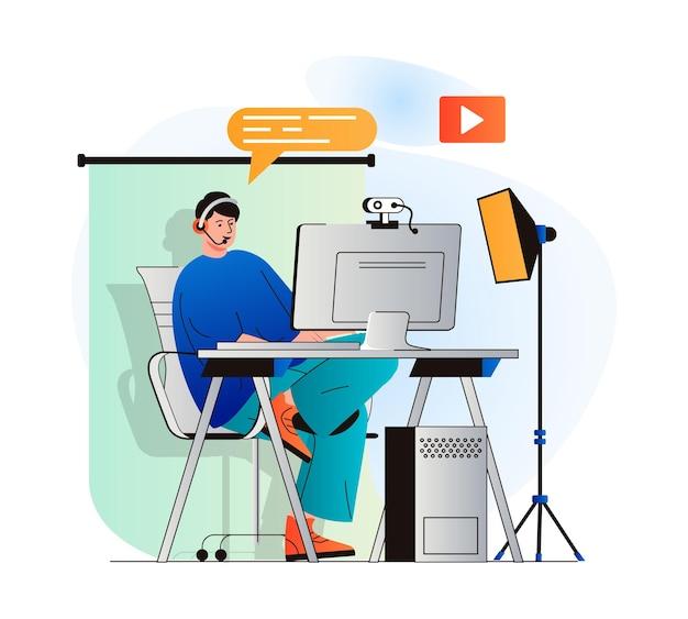 Video blogging concept in modern flat design blogger records video clip in home studio or live