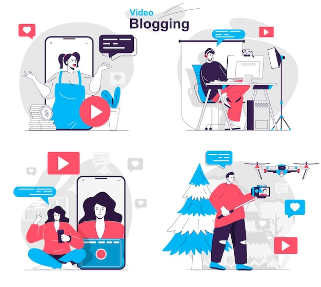 Video blogging concept set blogger create video content stream online at channel