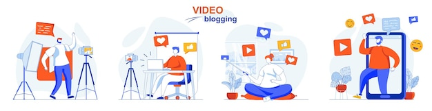 Video blogging concept set bloggers recording videos create digital content