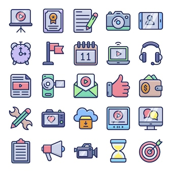 Video blogging and copywriting flat icons pack