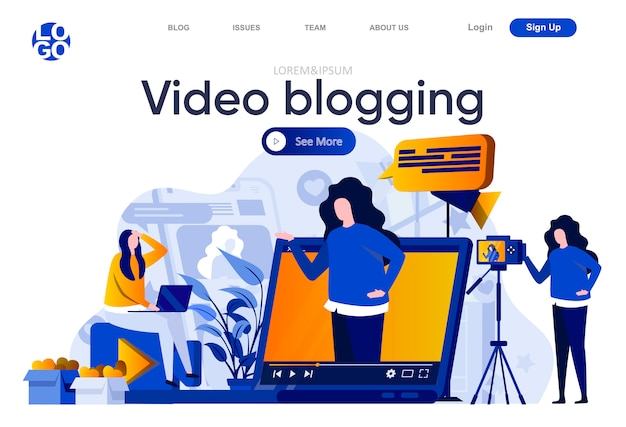 ビデオブログフラットランディングページ。プロのブロガーがビデオを作成し、vlogし、イラストをストリーミングします。人々のキャラクターを含むソーシャルメディアのウェブページ構成のためのビデオコンテンツ制作