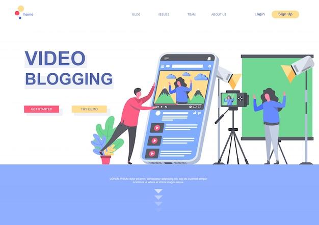 ビデオブログフラットランディングページテンプレート。ブロガーがスタジオでビデオを作成し、vlogし、ストリーミングしている状況。人のキャラクターのあるwebページ。ソーシャルメディアイラストのコンテンツ制作。