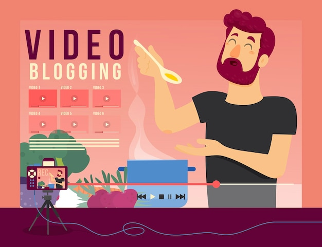 Концепция иллюстрации видео-блогов