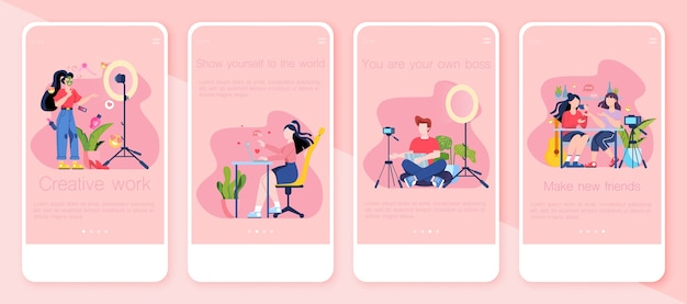 Video blogging  mobile application banner set. idea of creativity and making content, modern profession. social media and network. online communication.   illustration