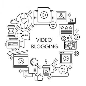 Video blogging thin line vector concept illustration. stroke outline poster, template for web.