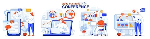 ビデオビジネス会議のコンセプトセットの同僚が作業中のビデオチャットで呼び出す