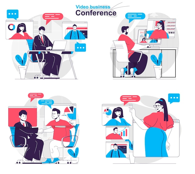 Video business conference concept set colleagues discuss tasks at online meeting