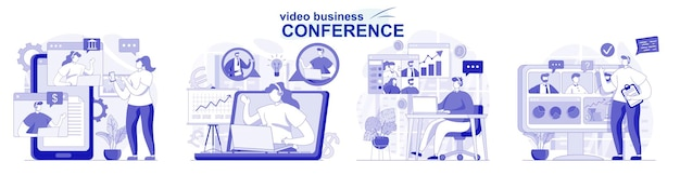 평면 디자인에 고립 된 비디오 비즈니스 회의 사람들은 온라인에서 동료와 작업에 대해 논의합니다.