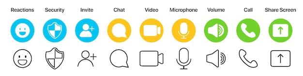 평면 디자인의 화상 통화 앱 인터페이스 아이콘