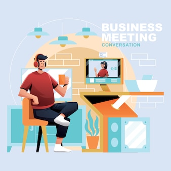 Video call business conversation for stay at home