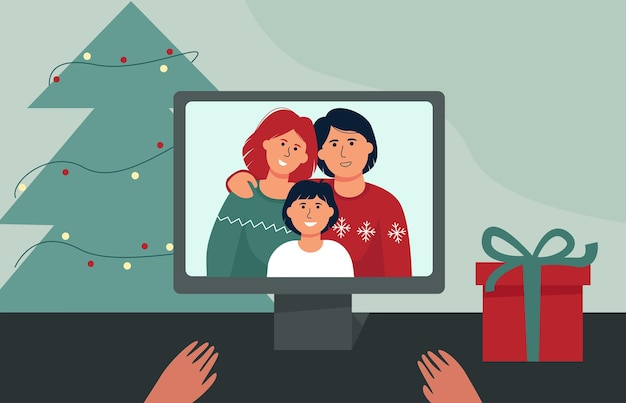 Video call christmas. new year online with your family. coronavirus conditions of celebration.