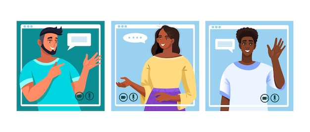 Концепция видеозвонка в плоском стиле с говорящими фрилансерами. баннер виртуальной встречи с командой