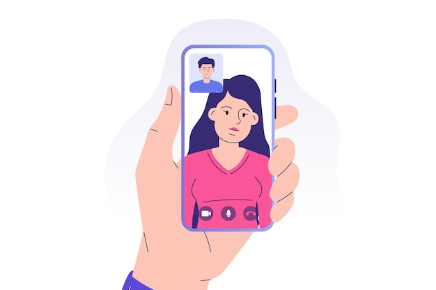 スマートフォンアプリを介してビデオ通話を行うビデオ通話の概念の人々
