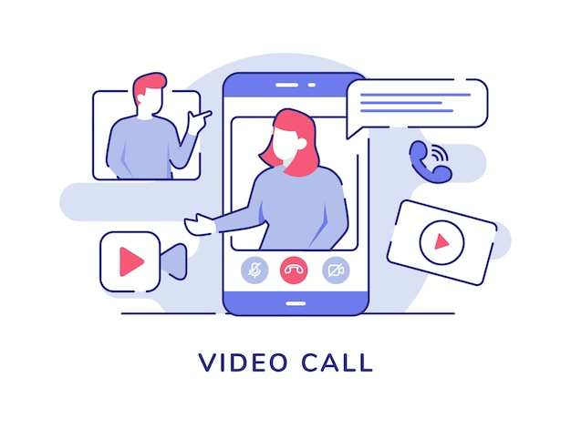 Концепция видеозвонка видео женщин на экране смартфона, говорящих мужчин с плоским стилем