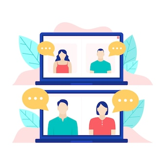 Video call concept with laptop