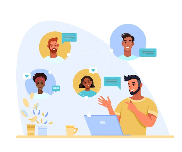 Video call or conference  illustration with standing young multi-national people using phones