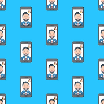 Video call conference seamless pattern on a blue background. online meeting theme vector illustration
