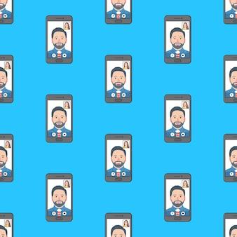 파란색 배경에 화상 통화 회의 원활한 패턴입니다. 온라인 회의 테마 벡터 일러스트 레이 션