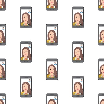 Video call conference seamless pattern on a white background. online meeting theme vector illustration